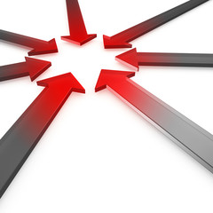 Hot spot - Red glowing metal arrows tip-to-tip to center point