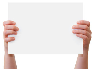 Hands upholding blank sheet of paper with copy-space
