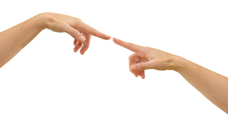 Two hands with fingers tip-to-tip symbolizing creation / contact