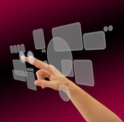 Hand browsing in virtual space using touch screen interface