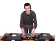 dj with turntables play music
