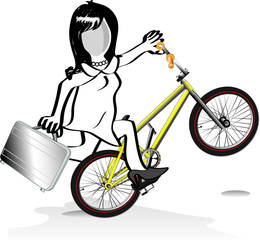 Business woman riding stunt bike