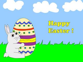 Easter bunny holding egg