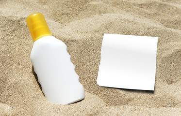 beach suncream empty note