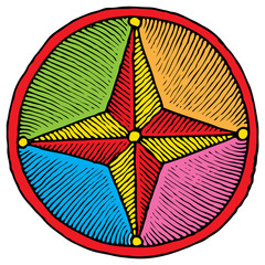 simple compass colored drawing