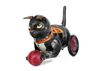 Vintage wind-up tin cat toy with ball