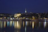 Belgrade at night, Capital of Serbia, view from the river Sava poster