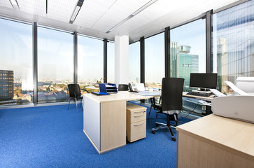 modern business office with panoramic cityscape