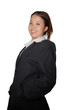 young woman in business suit is diving her pockets and smiling