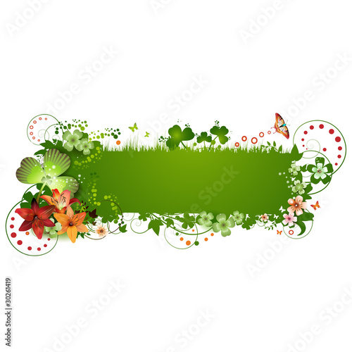 St. Patrick background with flowers and butterflies