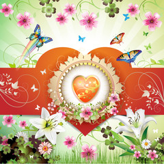 Valentine's day card. Heart and butterflies