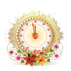Clock design with Valentine's day theme and flowers