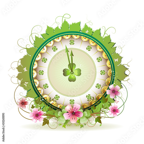 Clock design with St. Patrick's Day theme and flowers