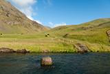 fiume cascate Skogafoss in Islanda poster