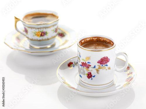 traditional coffee in a vintage set