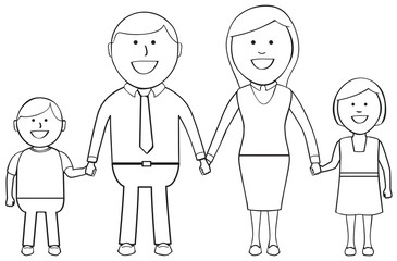 Outlined happy family holding hands and smiling