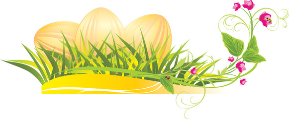 Easter eggs in the grass with spring flowers. Vector