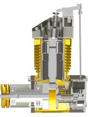 Motor Zweitakter Schnitt Gelb-weiss