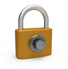 Code padlock isolated on white background