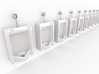 Row of urinals on white isolated background