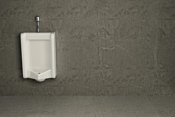 Urinal on dirty wall. Abstract background