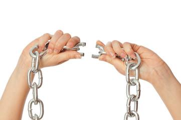 tearing a heavy chain