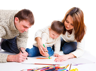 Parents drawing with son