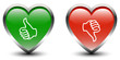 Heart Shape Thumbs Up & Down Sign Icons