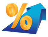 Percent sign and growing arrow as finance prosperity concept poster