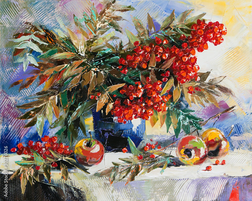 Still-life with a mountain ash and apples - 30276026