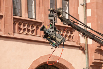 Professional video filming in city center in European town