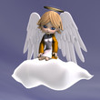 cute cartoon angel with wings and halo. 3D rendering with