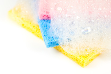 cleaning sponges with bubbles