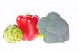 Alcachofa, Pimiento rojo y Brocoli.