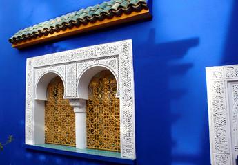 Window of Islamic museum in Jardine Majorelle, Marocco, Africa,