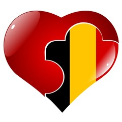vector red heart with the national flag of Belgium