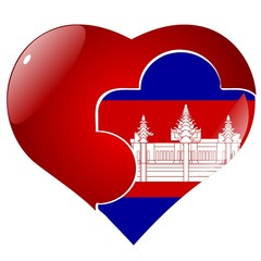 vector red heart with the national flag of Cambodia