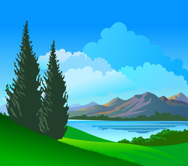 Beautiful Lake view and Pine Trees