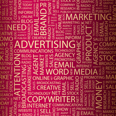 ADVERTISING. Wordcloud vector illustration.
