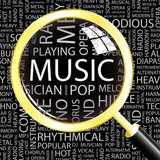 MUSIC. Magnifying glass over different association terms.