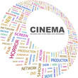 CINEMA. Word collage on white background.