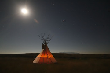 Native American Teepee at Night