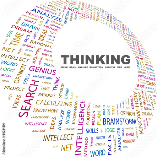 THINKING. Word collage on white background.