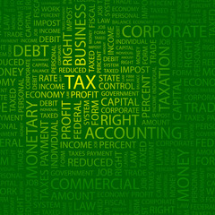 TAX. Wordcloud illustration.