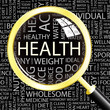 HEALTH. Magnifying glass over different association terms.