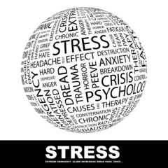 STRESS. Globe with different association terms.