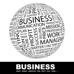 BUSINESS. Word collage on white background.