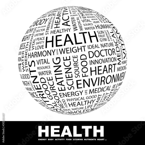 HEALTH. Globe with different association terms.