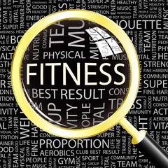 FITNESS. Magnifying glass over association terms.