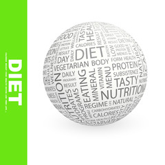 DIET. Globe with different association terms.
